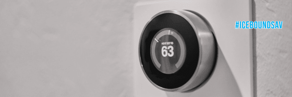 Icebound Nest Thermostat mounted to the wall